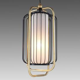 "Brass & Black Wire ""Jules"" Hanging Lamp"