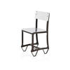 Aged Metal & Polished Sheet Steel Dining Chair  (, Vintage)