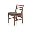 Mahogany Dining Chair With Green Fabric Seat