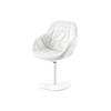 White Poly 'eva Swivel Dining Chair With White Leather Cover