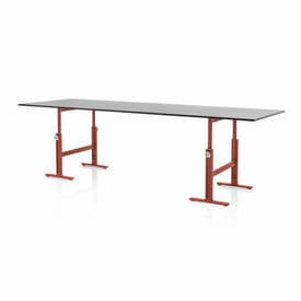 Red Cast Iron Leg ''Brut'' Adjustable Height Table with Black Top