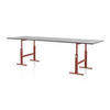 Red Cast Iron Leg  Brut Adjustable Height Table With Black Top (290 Cm X 95 Cm X 103 Cm)