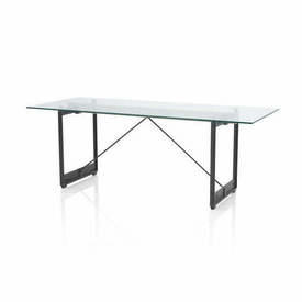 Black Cast Iron Leg & Wooden Base ''Brut'' Table with Glass Top
