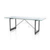 Black Cast Iron Leg & Wooden Base Brut Dining Table With Glass Top  (205 Cm X 85 Cm X 76 Cm)