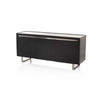 Rect Curved Corner Dark Wood + Steel 3 Door Sideboard