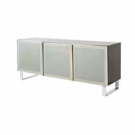 """Rect Black & Chrome """"Madia"""" Sideboard with 3 Smoked Glass Doors"""