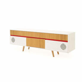 White, Walnut & Red Sideboard with Speakers & I Pod Station