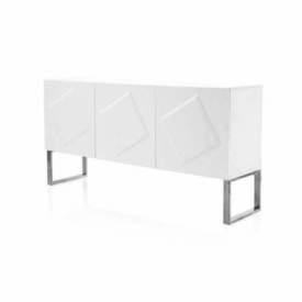 Tall White Diamond Patterned Sideboard