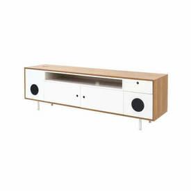 Walnut & White Sideboard with I Pod Station & Speakers
