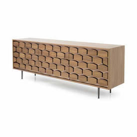 Walnut & Bronze Mirror Honeycomb 3 Door Sideboard