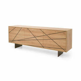 "Light Oak Three Door ""Maya"" Sideboard with Brown Pattern"