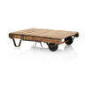 Rect Wooden Vintage Cotton Bale Cart Coffee Table  (, Vintage)