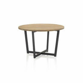 Circular Wooden Topped Coffee Table on Grey Metal Base