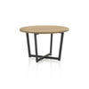 Circ Wooden Topped Coffee Table On Black Metal Base