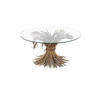 Gold Metal Wheatstraw Coffee Table With Circ. Glass Top