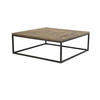 Large Square Metal Coffee Table With Plank Top (120cm X 43cm H)