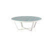 White Framed Coffee Table With Teal Tile Ceramic Top