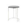 Large Circular Black Marble Lamp Table On Thin Chrome Base (62 Cm H X 51 Cm) (Also Available In 2 Other Sizes)