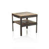 Square Salvaged Wood And Metal 2 Tier Lamp Table (50 Cm H X 47 Cm X 47 Cm) (, Vintage)