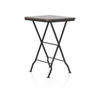 Dark Wooden Lamp Table On Black Trestle Base (78 Cm H X 51 Cm X 51 Cm) (, Vintage)