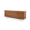 American Walnut 'alvin' Sideboard With Folding Doors On Chrome Legs