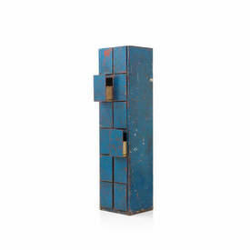 Blue & Orange Rustic Metal 12 Drawer Filing Cabinet