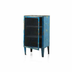 Blue & Green Aged Metal Cabinet with Wire Mesh Door