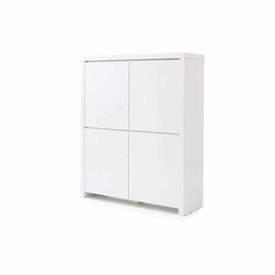 White Lacquered 4 Door Tall Sideboard