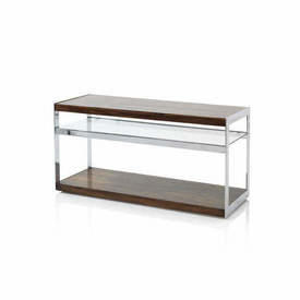 "Rosewood, Chrome & Glass ""Merrow"" Tv Stand on Castors"