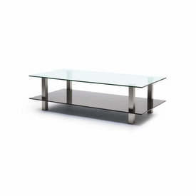 Rect Clear & Black Glass Coffee Table