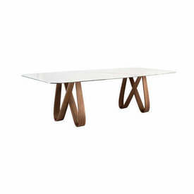 "Walnut ""Butterfly"" Dining Table with White Marble Top"