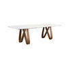 Walnut 'butterfly' Dining Table With White Marble Top (250cm X 120cm X 76cm H)