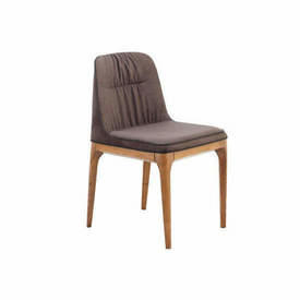 Brown Nubuk Cantelever Dining Chair on Wood Frame