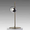 Antique Brass 'orb' Table Lamp With Smoked Glass Ball Shade