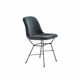 "Slate Velvet ""Gaia"" Dining Chair on Black Legs"
