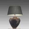 Large Black & Cream Mottled Pottery Table Lamp