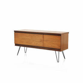 Teak Sideboard with Dropleaf & 2 Drawers on Black Hairpin Legs