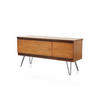 Teak Sideboard With Dropleaf & 2 Drawers On Black Legs