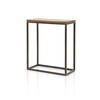Small Aged Bronze Console Table With Wooden Top