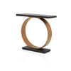 Copper Metal Ring Console Table With Wood Top & Base