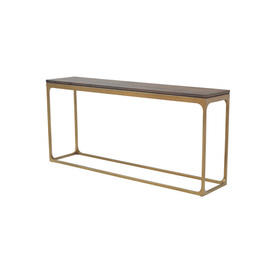 "Gold Based ""Canyon"" Console Table with Dark Oak Top"