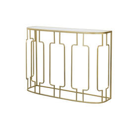 Gold Deco Console Table with Glass Top