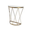 Aged Brass Lattice Semi Circ Console Table With Mirrored Top (70 Cm X 30 Cm X  80 Cm H)
