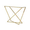 Gold Iron Console With Marble Vinyl Effect Top (88 Cm H X 109 Cm X 41 Cm)