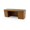 Curved American Walnut 'ad3' Executive Desk With Brown Brown Leather Top   (100cm X 200cm X H77cm)