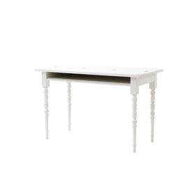 "White Painted Wood ""Two Tops"" Writing Desk on Turned Legs with Folding Top"