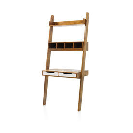 Acacia Wood ''Baithazar'' Ladder Desk with White Drawers