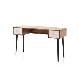 Wooden Desk with 2 White Drawers on Black Legs