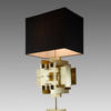 Gold 'puzzle' Table Lamp With Rect. Black Shade