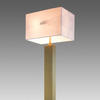 Tall Aged Brass Rect. Column Table Lamp With Rect. White Linen Shade